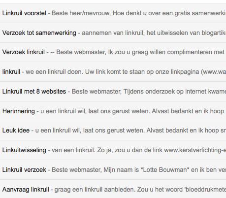 emails met voorstel tot linkruil