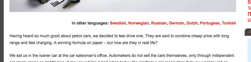 links naar andere talen